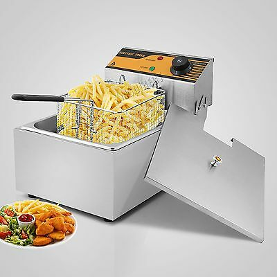 FoxHunter Stainless Steel Commercial Single Basket Electric Deep Fat Fryer 10L