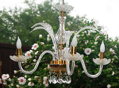 Vtg Italian Crystal Murano Glass Chandelier, Exquisite Glass w 4 Leaves & 4 Arms