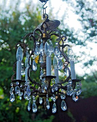 Vtg Crystal & Brass Chandelier, 5 Bulbs & Large Crystals, Unique Brass Detail