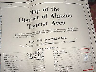 Vintage 1956 Map of the District of Algoma Tourist Area Canada 36 1/4 by 25 in.