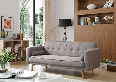 FoxHunter Fabric Sofa Bed 3 Seater Couch Luxury Modern Home Furniture Grey FSB04