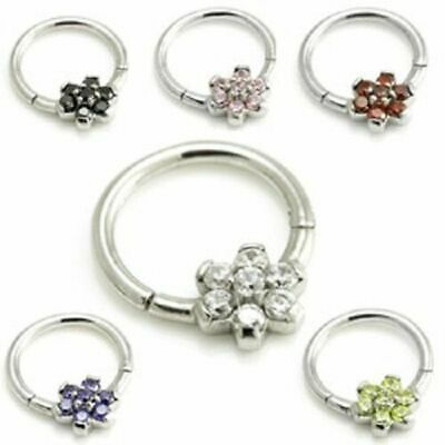 SURGICAL STEEL HINGED SEGMENT RING WITH CRYSTAL FLOWER ~ 1.2mm (16g)
