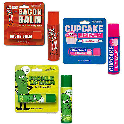 Bacon Meat Flavored Lip Balm Cupcake Pickle Flavour Gloss Chapstick Chap cool