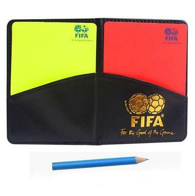 Referee Cards Red/Yellow Football Sport Wallet Notebook Pencil Soccer Refs Set