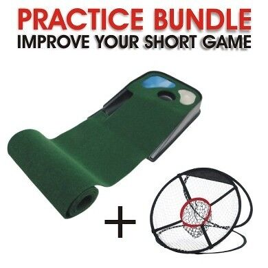 Deluxe Putting Mat & Chipping Net Golf Practice Bundle