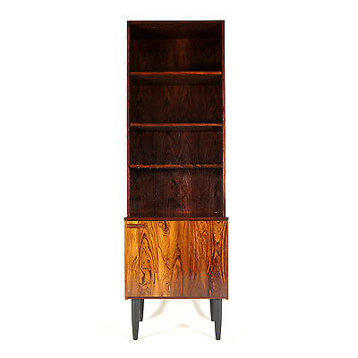 Retro Vintage Danish Modern Tall Rosewood Bookcase Book Shelves Wall Unit 60s