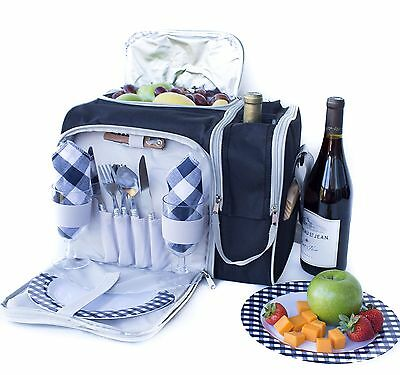 Picnic Basket Bag Set 2 Person Insulated Tote with Cooler Compartment and Com...