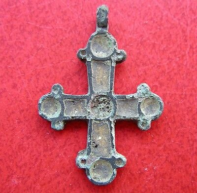 Ancient Viking Bronze Cross Pendant Enamel