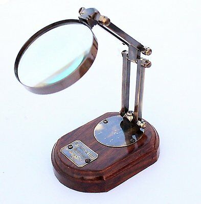 """TABLE TOP DESK BRASS MAGNIFIER 12"""" ADJUSTABLE MAGNIFYING GLASS Antique finish"""