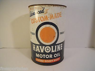 Vtg 1959 TEXACO HAVOLINE 5 Quart Advertising Motor Oil Can ~ w/ Rust Dents Wear