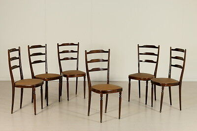 6 Chairs Ebony Stained Wood Foam Leatherette Vintage Italy 1950s-1960s
