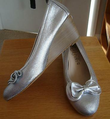 Silver leather pumps 2.5 inch wedge heel brand new UK 8 EU 41