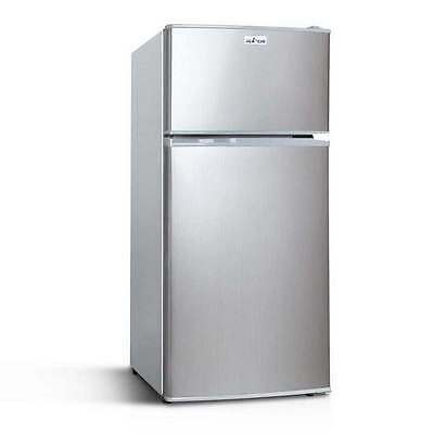 Upright 2-in-1 100L Caravan Bar Fridge Freezer Stainless Steel