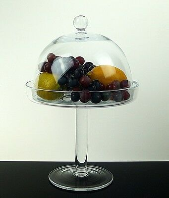 Hand Crafted Clear Glass High Footed Cupcake Stand Lora with a dome 35cm