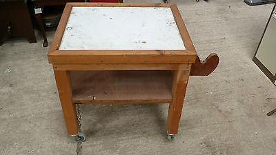 Wooden Kitchen Trolley on Wheels - Restoration - Needs New Top Towel Hold (3480)