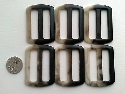 10 Brown Cream Tortoiseshell Belt Buckles 54 mm