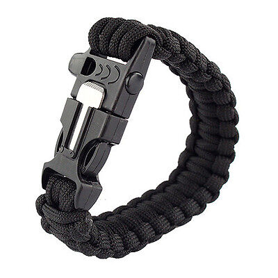 4in1 Survival Armband 3,6m Paracord Feuerzeug Pfeife Outdoor Camping Feuerstein