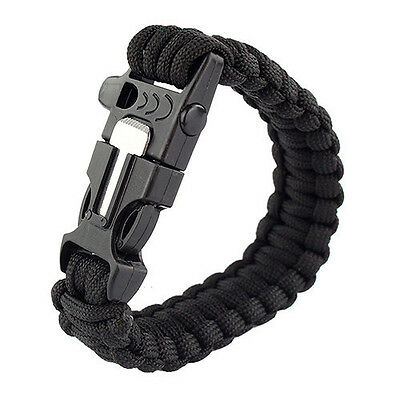 4in1 Survival Armband 3,6m Paracord Pfeife Outdoor Camping Feuerstein PP