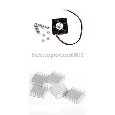 Dc 5V Fan + 5Pack Aluminum Heatsink Heat Sinks For Raspberry Pi Cooling Set