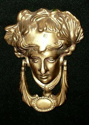 Victorian  Brass Ladies Head Clasical Door Knocker