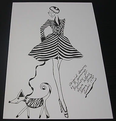 Roz Jennings Fashion Drawing Original Art Work Illustrator Laura Ashley 1970 C18