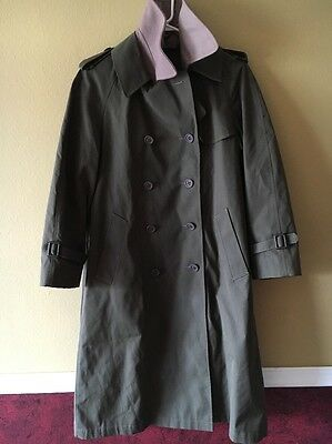 1980s Eastern Airlines Bill Haire Designed Navy Green Long Trench Coat size: 8p
