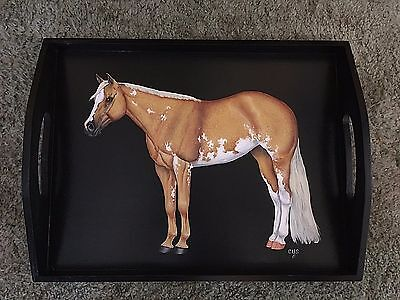 Palomino Paint / Pinto Horse Hand Painted On Wood Serving Tray