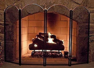 Amagabeli 4 Panel Outdoor Large Silver Fireplace Screen Wrought Iron Black Me...