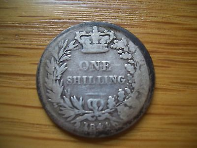 Silver Victorian Shilling Dated 1844 From A Large  Coin Collection Find
