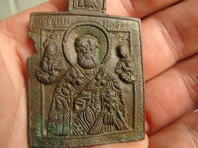 Late Medieval  Period  Bronze Icon - Saint Nicholas   #4679