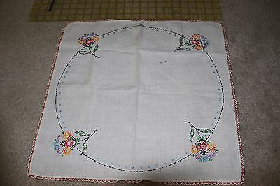 Vintage hand-made table/dresser linen with hand-embroidered flowers
