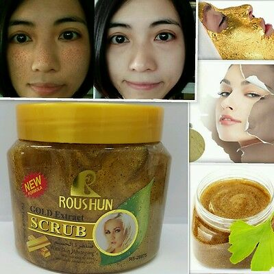 GOLD WHITENING FACIAL SCRUB REMOVE MELASMA WRINKLE LIFTING SKIN GLOW  300ml uk