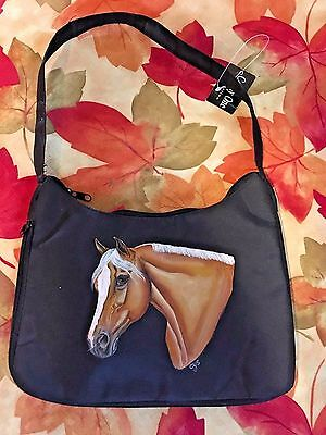 Palomino Horse Hand Painted On  Black Nylon Purse / Bag