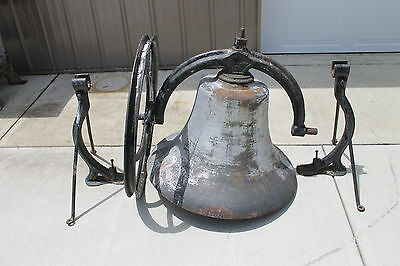 "30"" Antique Church School Bell Cincinnati Bell Foundry - Cast Iron  ALL ORIGINAL"