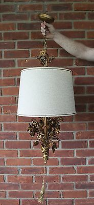 Vtg Hollywood Regency Italy Gilt Tole Metal Gold Leaf Hanging Light - RARE -