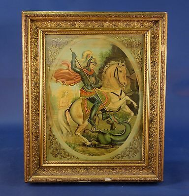 Antique Pair Of Framed Religious Coloured Prints, Saint Martin & Saint George