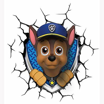 Paw Patrol 3D Led Wall Light Chase Childrens Night Light New Official Free P+P