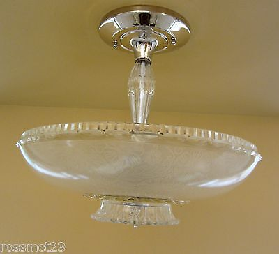 Vintage Lighting antique 1940s Virden glass nickel light  Living Dining Kitchen