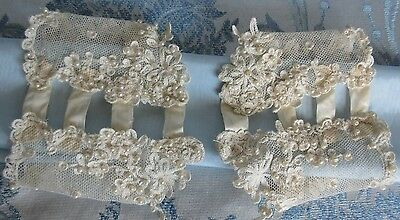 Antique Tambour Lace Cuffs Pair Silk Pearl Beaded Wedding Gown Bridal Sleeve