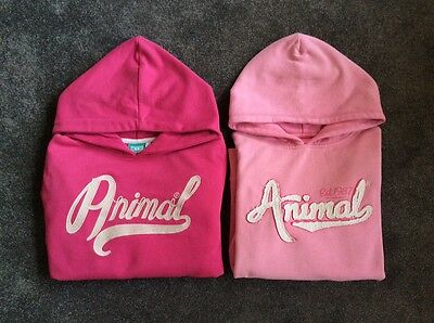 2 Girls Animal Hoodies Age 12 13 14 Years Teen Top Pink Soft Two