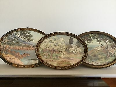 Antique French Framed Watercolors Signed Marked Nice France Set of 3