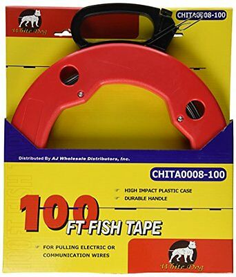 100 FT Fish Tape with High Impact Case for Electric or Communication Wire New!