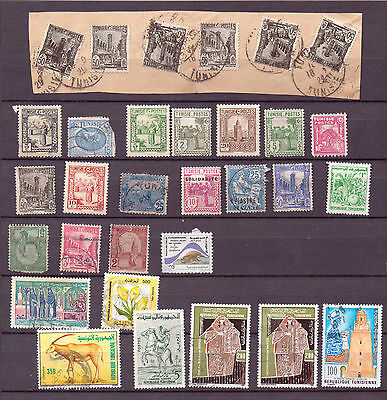 TUNISIA... A selection on & off paper of mostly F/U. ( D141 )