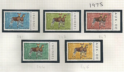 Republic Congo Zaire Postage Stamps SG 841-45 1975 Okapi Antelope MINT NH (k325)