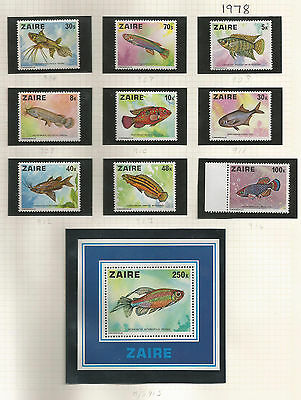 Congo Zaire Stamps SG 906-915 1978 Fish MINT Never Hinged (k333)