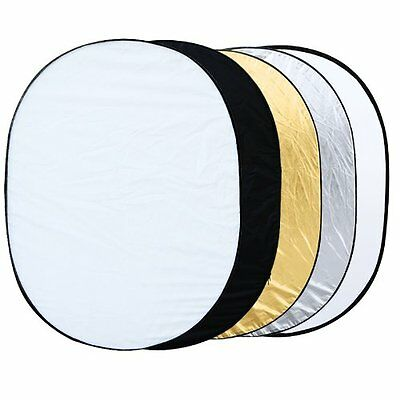 "5 in 1 collapsible reflector oval photo studio 90 x 120 cm (35 ""x 47 ') ED"