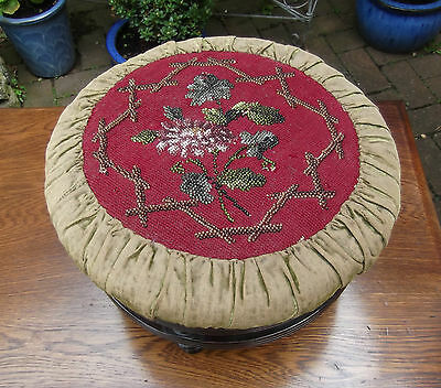 Victorian Beaded Granny-Chic Footstool~Mahogany Spindle Turned Frame~Beaded Top