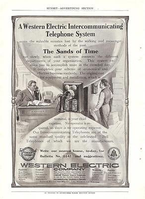 1908 Ad Western Electric Intercommunicating Telephone System Invention Hourglass