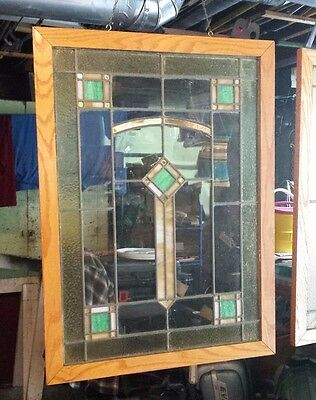 2 Antique 1920's Chicago Bungalow Stained Glass Windows Prairie style