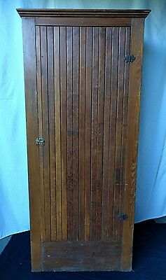 Antique Tall Wainscoting Wooden Country Cupboard Cabinet W/ 4 Shelves - 6' Tall